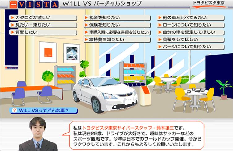 トヨタ自動車 株式会社  will VS バーチャルショップ